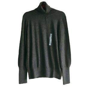 🎀NWT 100% Marino Wool Joe Fresh Large Size Grey Turtle Neck Sweater Top